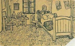 Famous paintings of Furniture: Vincent's Bedroom in Arles 2
