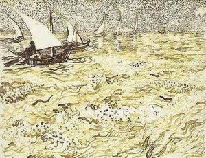 Famous paintings of Ships & Boats: A Fishing Boat at Sea
