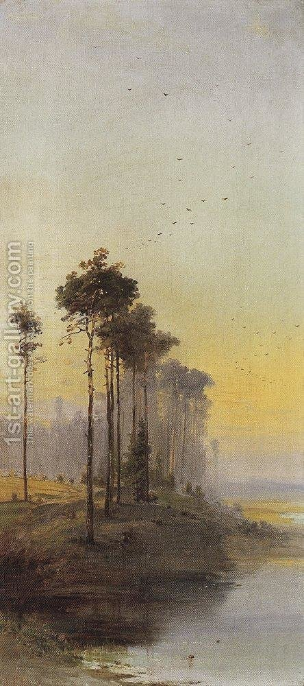 Landscape with pines by Alexei Kondratyevich Savrasov - Reproduction Oil Painting