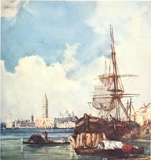 Famous paintings of Ships & Boats: View of Venice