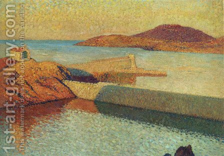 Entrance of port Collioure by Henri Martin - Reproduction Oil Painting