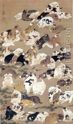 One Hundred Dogs by Ito Jakuchu - Reproduction Oil Painting
