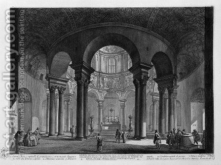 View of the Basilica of St. Sebastian outside the Walls in Rome on the Appian Way by Giovanni Battista Piranesi - Reproduction Oil Painting