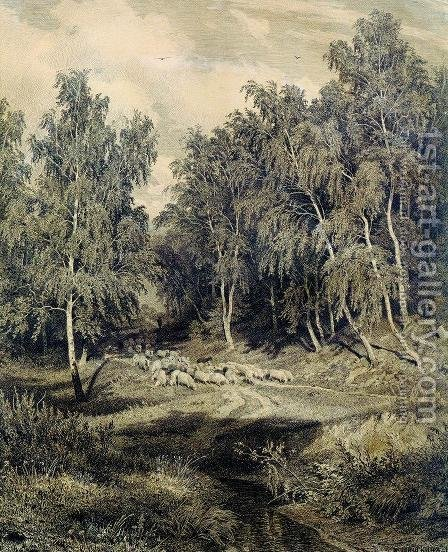 Landscape with herd of sheep by Ivan Shishkin - Reproduction Oil Painting