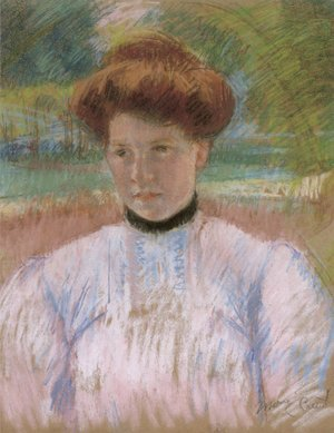 Reproduction oil paintings - Mary Cassatt - Young Woman with Auburn Hair in a Pink Blouse