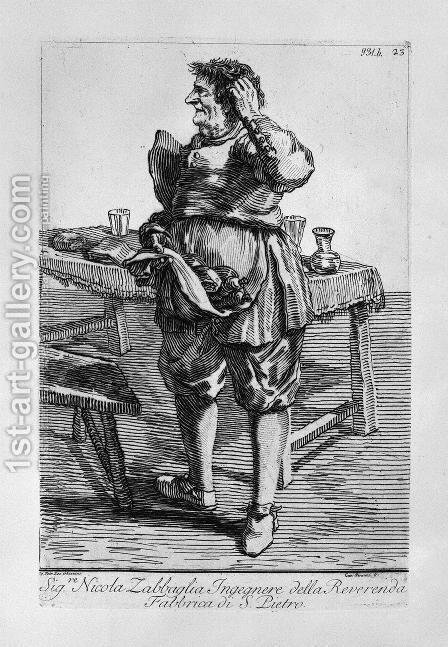 Zabaglia caricature of Nicholas, the Reverend Fabric of St. Engineer Peter by Giovanni Battista Piranesi - Reproduction Oil Painting