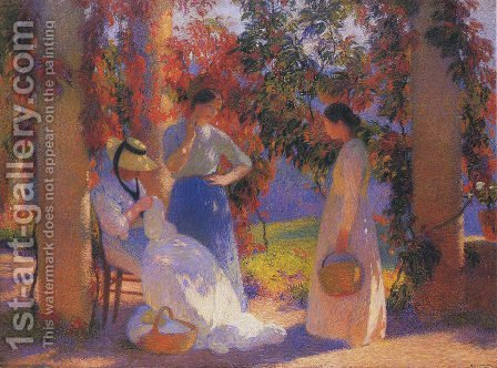 Sewing Scene under the Pergola at Marquayrol by Henri Martin - Reproduction Oil Painting