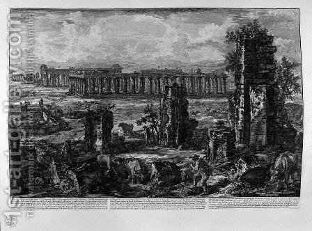 View the remains of the ancient city of Paestum by Giovanni Battista Piranesi - Reproduction Oil Painting