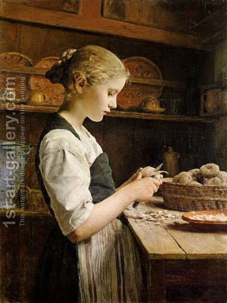 The Little Potato Peeler by Albert Anker - Reproduction Oil Painting