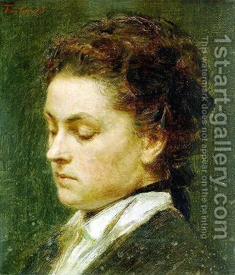 Portrait of young woman by Ignace Henri Jean Fantin-Latour - Reproduction Oil Painting