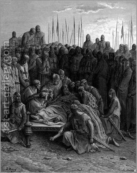 Death of Baldwin I the Latin King of Jerusalem by Gustave Dore - Reproduction Oil Painting