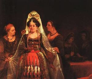 Reproduction oil paintings - Aert De Gelder - The Jewish Bride (Esther Bedecked) 1684