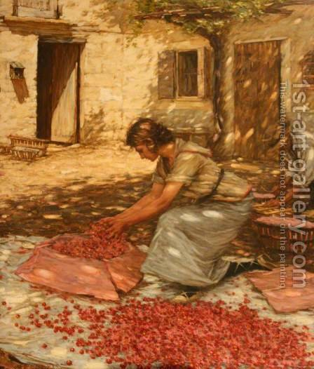 Packing Cherries in Provence, France by Henry Herbert La Thangue - Reproduction Oil Painting