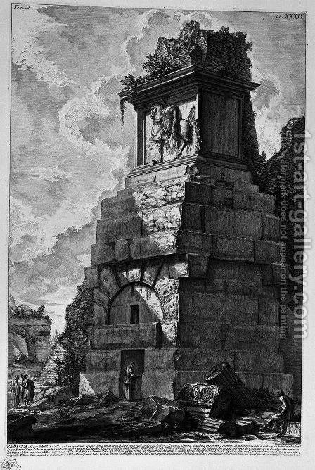 The Roman antiquities, t. 2, Plate XXXIX. Plan and section of the three rooms of the family of Augustus believed burial. by Giovanni Battista Piranesi - Reproduction Oil Painting