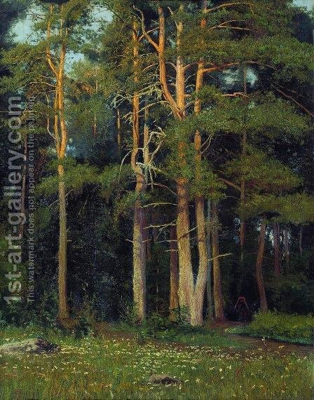 Pine forest in Ligovo by Ivan Shishkin - Reproduction Oil Painting