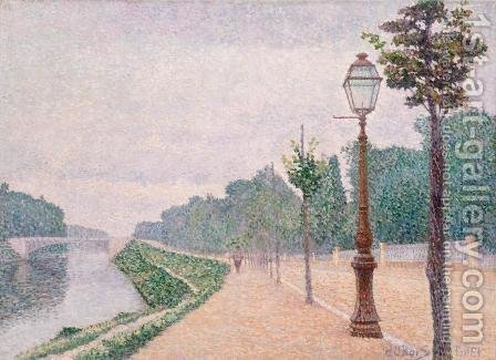 The Banks of the Seine at Neuilly by Albert Dubois-Pillet - Reproduction Oil Painting