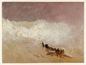 Reproduction oil paintings - Turner - Shore Scene with Waves and Breakwater