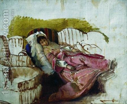On the couch by Ilya Efimovich Efimovich Repin - Reproduction Oil Painting