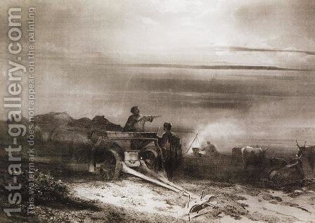 Bivouac in the desert convoy Chumakov by Alexei Kondratyevich Savrasov - Reproduction Oil Painting