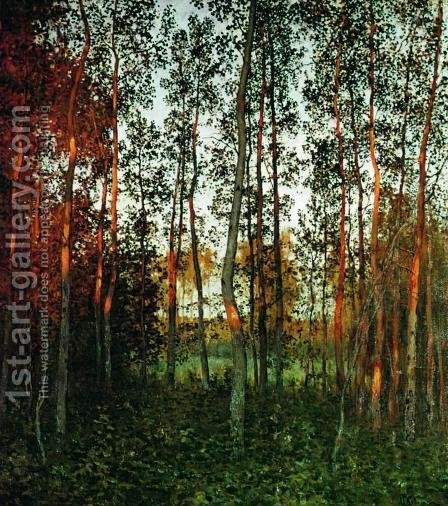 The last rays of the sun. Aspen forest. by Isaak Ilyich Levitan - Reproduction Oil Painting