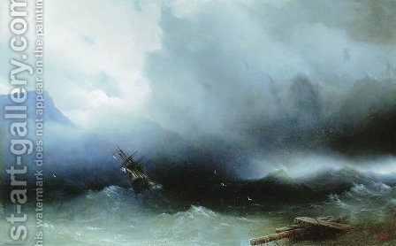 Hurricane at the Sea by Ivan Konstantinovich Aivazovsky - Reproduction Oil Painting