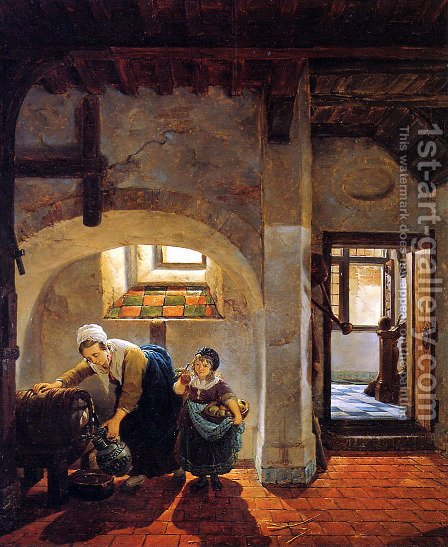 Woman and child in basement by Abraham van, I Strij - Reproduction Oil Painting