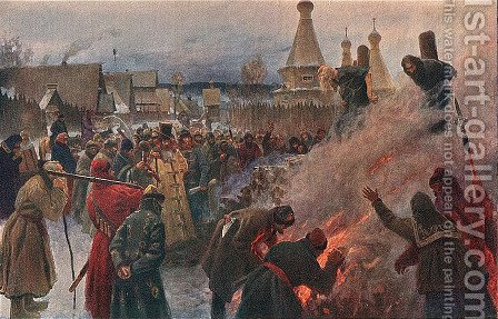 The burning of Archpriest Avvakum by Grigori Grigorievich Mjasoedov - Reproduction Oil Painting