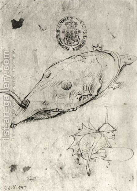 Turtle and a winged demon by Hieronymous Bosch - Reproduction Oil Painting