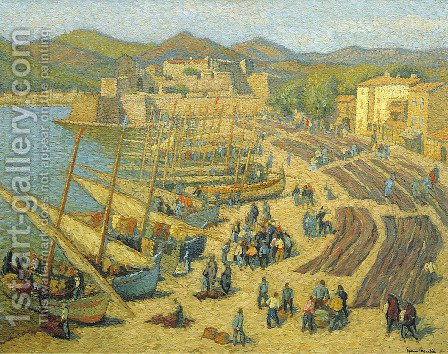 Fishing Boats at Collioure by Henri Martin - Reproduction Oil Painting