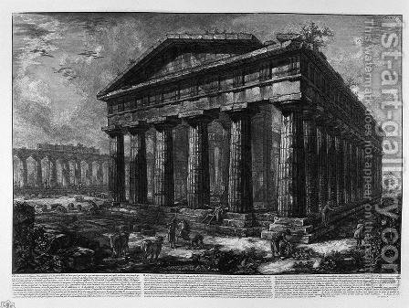 View of the Temple of Neptune by Giovanni Battista Piranesi - Reproduction Oil Painting
