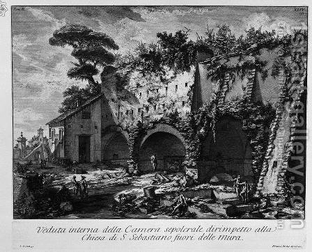 The Roman antiquities, t. 2, Plate XLIV. Interior view of the burial chamber in the Vineyard Gate S. Casali Sebastiano. by Giovanni Battista Piranesi - Reproduction Oil Painting
