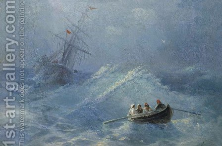 The Shipwreck in a stormy sea by Ivan Konstantinovich Aivazovsky - Reproduction Oil Painting