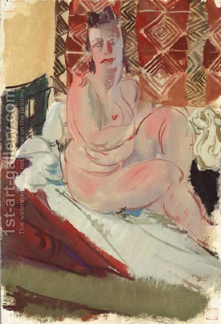 A Model Seated on a Bed by Alexandre Jacovleff - Reproduction Oil Painting