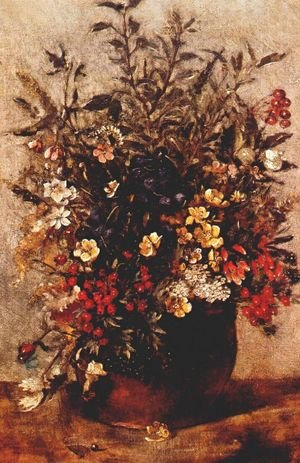 Reproduction oil paintings - John Constable - Autumn berries and flowers in brown pot