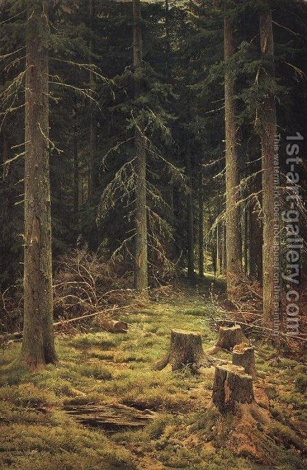 Coniferous Forest by Ivan Shishkin - Reproduction Oil Painting