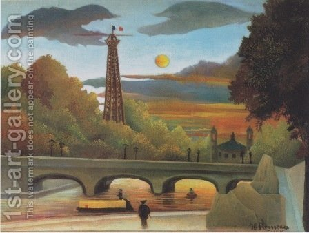 Seine and Eiffel tower in the sunset by Henri Julien Rousseau - Reproduction Oil Painting
