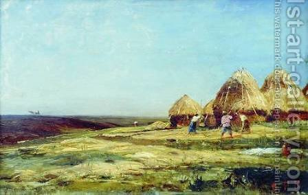 Ablyazov. Threshing by Aleksei Petrovich Bogolyubov - Reproduction Oil Painting