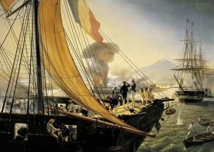 Famous paintings of Ships & Boats: Scene from the Mexican Expedition in 1838