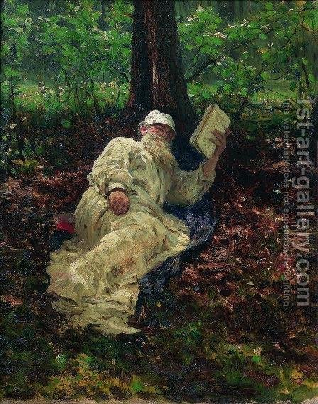 Leo Tolstoy in the forest by Ilya Efimovich Efimovich Repin - Reproduction Oil Painting