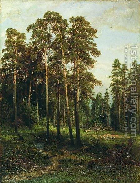 Pine forest 3 by Ivan Shishkin - Reproduction Oil Painting