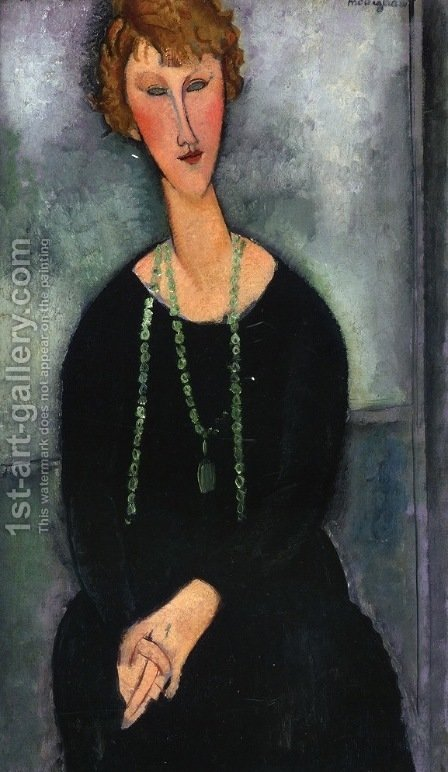 Woman with a Green Necklace (Madame Menier) by Amedeo Modigliani - Reproduction Oil Painting