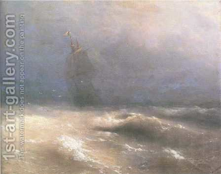 Tempest by coast of Nice by Ivan Konstantinovich Aivazovsky - Reproduction Oil Painting