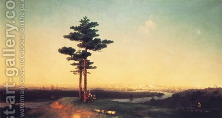 View of Moscow from Sparrow Hills 2 by Ivan Konstantinovich Aivazovsky - Reproduction Oil Painting
