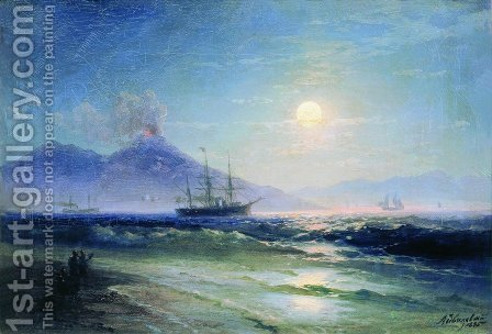 The Bay of Naples at night by Ivan Konstantinovich Aivazovsky - Reproduction Oil Painting