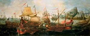 Famous paintings of Ships & Boats: Attack on Spanish Treasure Galleys, Portugal