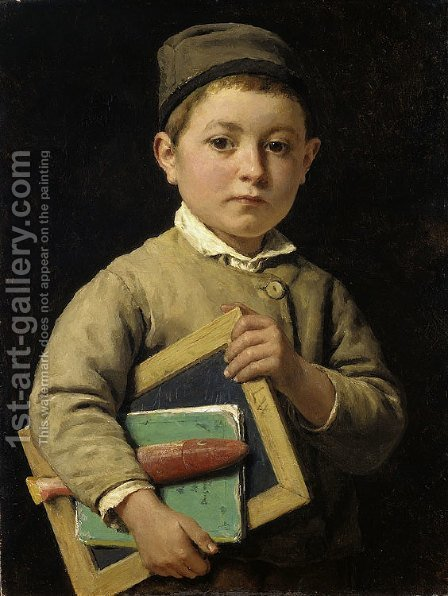 Schoolboy by Albert Anker - Reproduction Oil Painting
