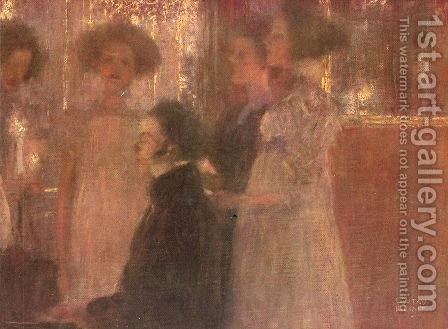 Schubert at the piano I by Gustav Klimt - Reproduction Oil Painting