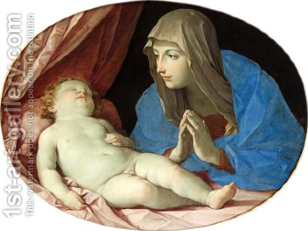 Virgin and Child adoring by Guido Reni - Reproduction Oil Painting