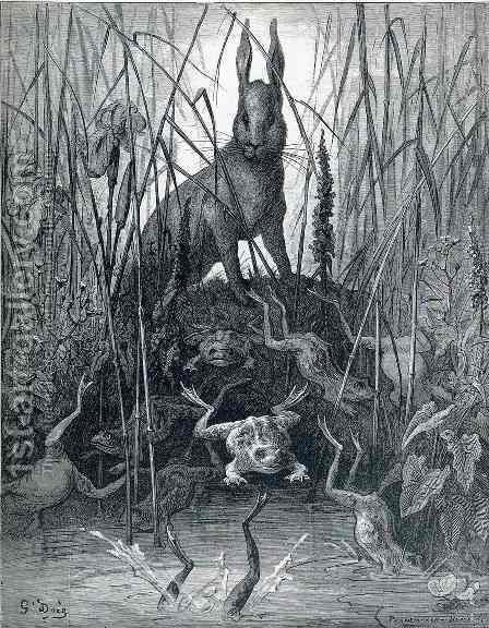 The Hare and the Frogs by Gustave Dore - Reproduction Oil Painting