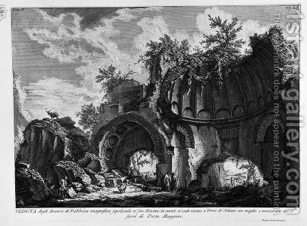 The Roman antiquities, t. 2, Plate LX. A view of the magnificent tomb near the remains of the factory in Torre de 'Schiavi outside Porta Maggiore. by Giovanni Battista Piranesi - Reproduction Oil Painting